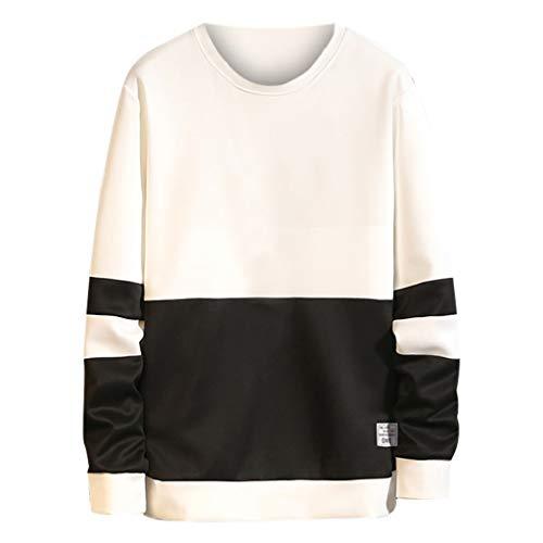 Xmiral Pullover Herren Slim Fit Sweatshirt Patchwork Street Style Rundhals Sweatshirt für Männer Lange Ärmel Freizeitmode Freizeithemd(Schwarz,M)