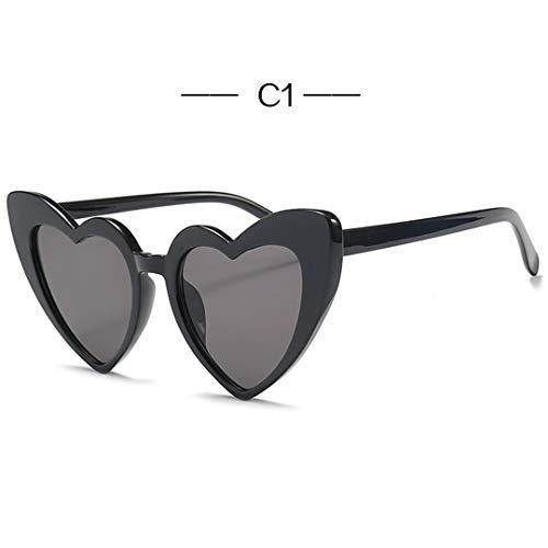 DAIYSNAFDN Herzförmige Sonnenbrille Frauen Cat Eye Sonnenbrille Damen Vintage Rosa Schwarz Eyewear C1Black
