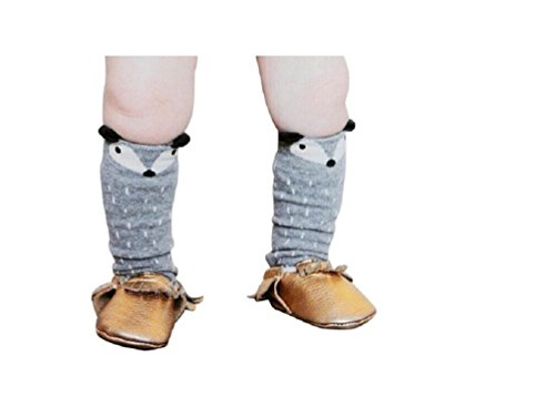 High Knee Farbe Socken (1 Paar Kinder Mädchen Fuchs Muster Knee High Socks Strümpfe von ILOVEDIY (für 4-6 Jahre, Grau))