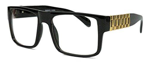 Herren Flat Top Retro Fashion Brille rechteckig Streberbrille Nerdbrille Gold Chain LXN (Schwarz / Gold)