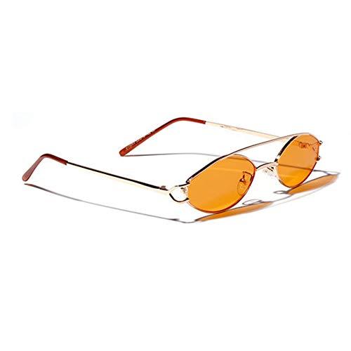 SUNNYJ Sonnenbrille Steampunk Sonnenbrille Frauen/Männer Oval Kleiner Rahmen Retro Vintage Getönte Sonnenbrille Fashion Shades 100 Orange