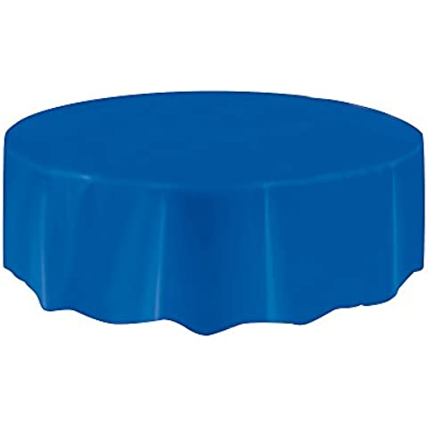 Ênico - Mantel plástico redondo, 210 cm, Color: azul