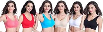 Generic Women's Stretchable Air Bra (Colour May Vary, Blue)- Combo of 6