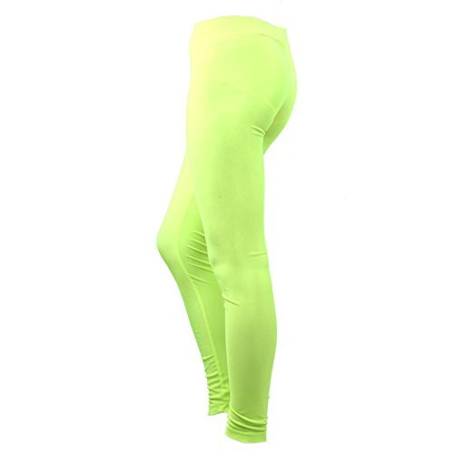 (JNTworld Damen Frauen Stretch/ elastisch Polyester Spandex Lycra lang Tiefer Bund Taille leggings Jeggings Strumpfhosen Pants (30 Farbwahl),Medium,  Neon Grün)