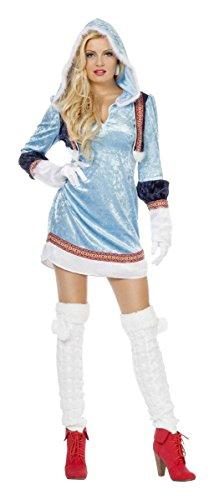 Damen Kostüm Eskimo Inuit in blau-weiß Karneval Fasching Gr.48 (Eskimo Kostüm Weiß)