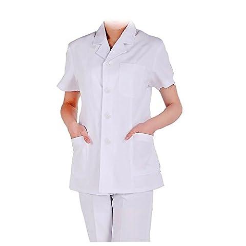 WDF blanc blouse laboratoire vêtements blouse médical vêtements de travail blanc femmes manches courtes paragraphe court