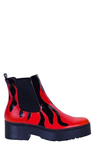 Iron fist bottes style biker pour femme Noir - Schwarz (Black-Red)