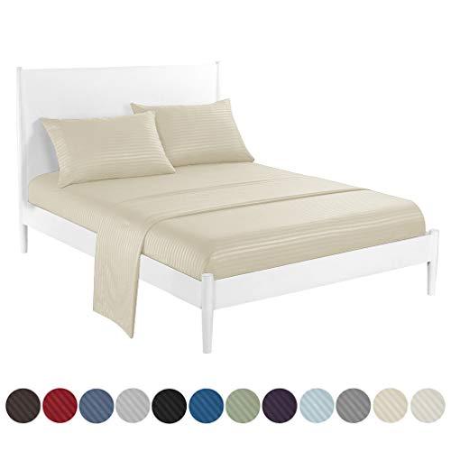 JK Home Hotel-Bettwäsche-Set, weich, Tiefe Taschen, Knitter- und lichtbeständig, beige, Volle Größe