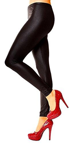 Damen Glanz Leggings Leggin Skinny Stretch Formend Funktionsleggings Sportleggings Glänzend Lang Uni Einfarbig Lang One Size Schwarz