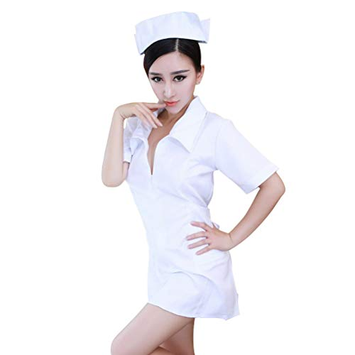 BESTOYARD Krankenschwester Dessous Uniform Reißverschluss Kleid Hut Set für Paare Weiß Freie Größe (Paare Und Krankenschwester-kostüme Arzt Für)