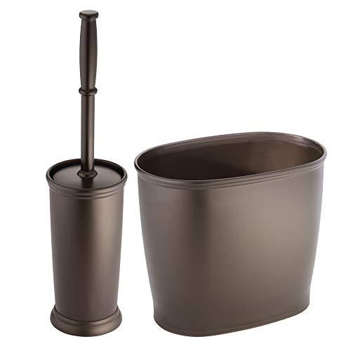 mDesign 2er-Set Badgarnitur - Abfalleimer Bad und diskreter Toilettenbürstenhalter inkl. WC-Bürste aus Kunststoff - praktisches Badezimmer-Set aus Kunststoff - für kleine Badezimmer geeignet - Bronze - Kunststoff-shampoo Bürste