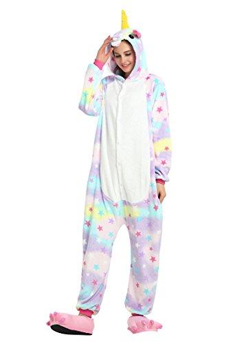 RandWind Einhorn Kostüm Tier Jumpsuit Erwachsene Schlafanzug Pyjama kigurumi Fasching Cosplay Karneval Gr. Medium, Stern