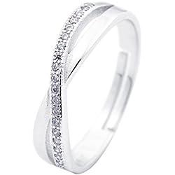 Lieberpaar Damen Infinity Unendlichkeit Zeichen Symbol 8 925 Sterling Silber Kristall Ringe verstellbare goessee