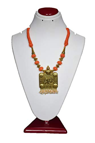 ShreeVari Fashion Orange and Gold Plated Kathyawadi Necklace Set for Women