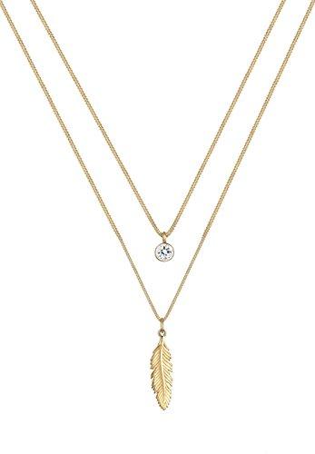 Elli Damen Halskette mit Feder Anhänger Boho in 925 Sterling Silber Swarovski Kristalle 45 cm lang