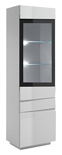 CAVADORE Vitrine Sharpcut-Living Linkstürig/Standvitrine Hochglanz Weiß mit Grauem Glaseinsatz und Viel Stauraum/Schrank mit 2 Schubladen & 2 Türen/42 x 60 x 200 cm (T x B x H)