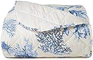 Trapuntino leggero letto copriletto in puro cotone Made In Italy MATRIMONIALE CORALLI BLU