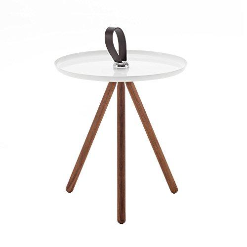 Rolf Benz 973 Beistelltisch, signalweiß RAL 9003 Tischplatte Stahl Ø 40cm Gestell amerikanischer Nussbaum H81 -