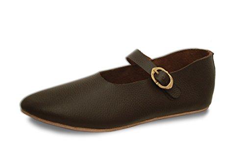 CP-Schuhe Mittelalter Schuhe Hedwig mit Riemenverschluss für Hochmittelalter Spätmittelalter (38)