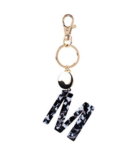 SIX Damen Schlüsselanhänger, Anhänger, Buchstaben, Initialien, M, Kreis, Karabiner, Marmor, Gold, weiß, schwarz (223-978) (Claires Zubehör Halloween)