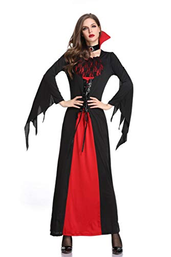 Kostüm Deesse - Sijux Femmes Halloween Costume Vampire Witch Dress Jupe Longue Gothique Déesse Noire Reine Cosplay Costumes,Black,L