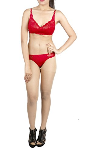 LITTLE LACY All Over Nett Full Cup Designer Bra & Panty Set ( Attiva_5_Maroon_38B)  available at amazon for Rs.520