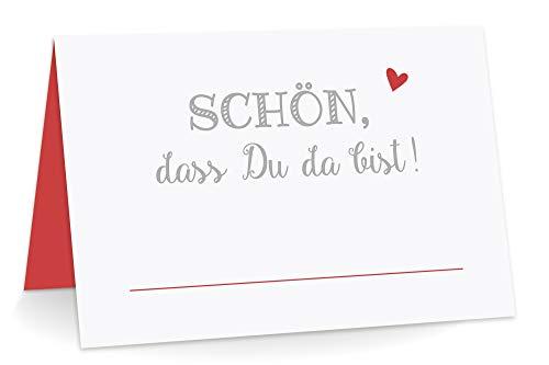 KuschelICH 50 Premium Tischkarten Schön DASS Du da Bist mit Herz rot - Platzkarten zum selbst Beschriften (Rot, 50)