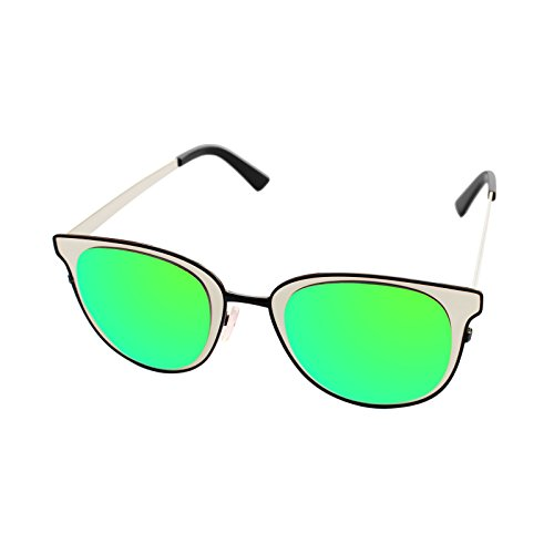 LooKLooK® Vintage Style Fashion Sonnenbrille für Frauen - Elegantes und Modernes Design mit Metallrahmen und Anti Glare Verspiegelte nicht Polarisierte Brille 100% UV400 Sonnenschutz Large Größe
