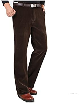 Zhhlaixing Clásico Winter Mens Straight Leg Corduroy Trousers Thicken Warm Cotton Pants