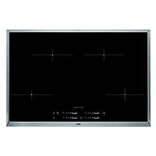 AEG HKA8540IND Einbaukochfeld / autarkes Induktionskochfeld mit Power-Funktion und Timer / 80 cm Glaskeramikkochfeld mit Edelstahlrahmen / 4 elektronische Automatikkochstellen mit Topferkennung / schwarz und silber