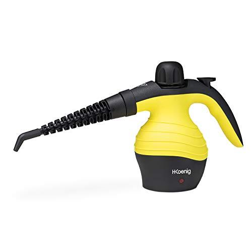H.Koenig NV60 Limpiador A Vapor Compacto, Vaporeta 1000W, 4,2 Bares, Capacidad de Agua de 350 ml, Amarillo, Plástico