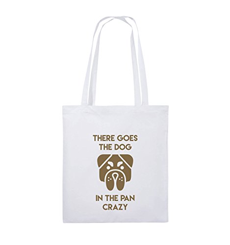 Comedy Bags - THERE GOES THE DOG IN THE PAN CRAZY - Jutebeutel - lange Henkel - 38x42cm - Farbe: Schwarz / Pink Weiss / Hellbraun