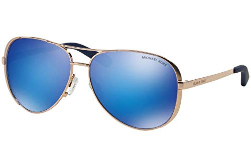 Michael Kors mk5004 Chelsea Aviator Sonnenbrille Rose Gold w/Blau Spiegel (1003/25) MK 5004 100325 59 mm Authentic