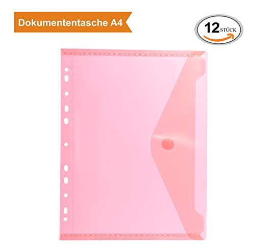 ZADAWERK® Dokumententasche - mit Lochung - A4 - Rot - 12 Stück