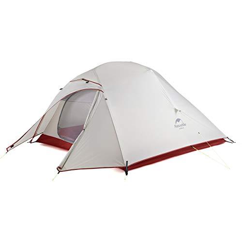 Naturehike Neu Cloud-up 3 Upgrade Ultraleichte Zelte 3 Personen Zelt 3-4 Saison für Camping Wandern (20D Grau Upgrade)