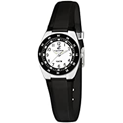 Calypso Women's Quartz Watch with White Dial Analogue Display and Black Plastic Strap K6043/F
