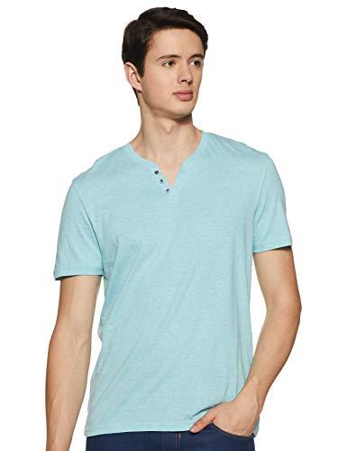 Celio Sebet - T-shirt - Uni - Col à boutons - Manches courtes - Homme