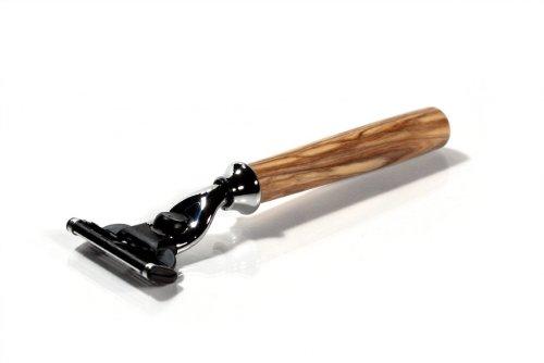 korium Rasierer für Mach3 Oliven-Holz - gerade Griff-Form - Gillette Mach 3 System-Klingen Nassrasierer Herren Oliven-Holz - Made in Germany
