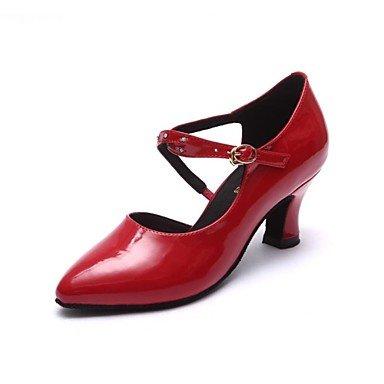 Silence @ Chaussures de danse pour femme moderne Cuir verni Chunky Talon Noir/rouge noir