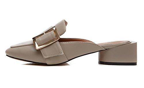 Frühling und Sommer beiläufige Schuhe Quadrat Schnalle Schuhe flach mit flachem Mund Baotou flachen Sandalen und Pantoffeln Frauen Beige