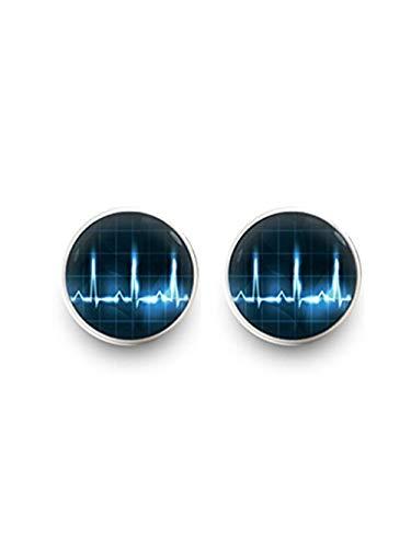 JUN Herzschlag Ohrringe, Ohrstecker Heart Beat, Dome Glas Schmuck, Pure Handgefertigt