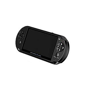 GAME Maple Mode Handheld-Spielkonsole, PSP Handheld-Spielkonsole X9 Retro Mini Arcade 5-Zoll-Farbbildschirm GBA-Spiel Rocker 16G,Black