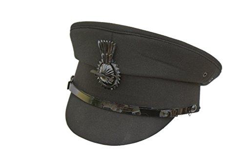 Schwarzer Chauffeur-Kappe mit Kokarde, klassisch, innen: Satinfutter Gr. 63, Schwarz