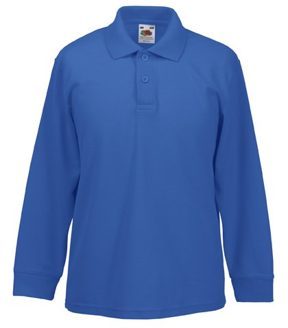 Fruit Of The Loom 63201 Kids Long Sleeve Childrens 65/35 Pique Polo Shirt - Royal - Age 14-15