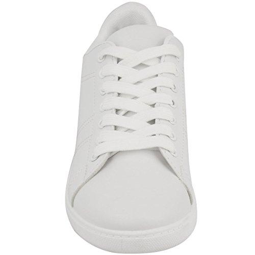 Damen Low Top-Sneaker mit Glitzerdetails - flache Schnürschuhe Weiß Kunstleder/Rosa Glitzer