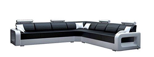JVmoebel Weiß/Schwarz Sofa Lederimitat, 200 x 85 x 85 cm
