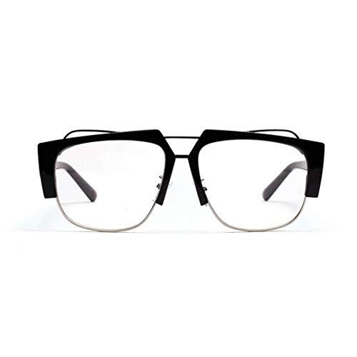 BAACHANG Quadratischer klarer halbmetallischer Flacher Glasrahmen, Web-Celebrity-Gläser (Farbe : Schwarz)