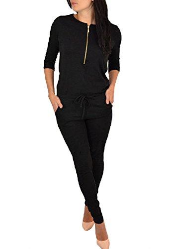 Minetom Damen Jumpsuit, Onesie, Overall, Einteiler Mit Bündchen An Arm- Und Beinabschluss Aus 100% Baumwolle A Schwarz DE 42 -
