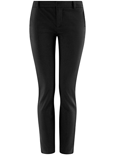 oodji Ultra Donna Pantaloni Basic in Cotone Nero (2900N)