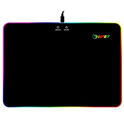 NPET Gaming Mouse Mat (mit RGB Chroma Beleuchtung, Mauspad mit Kunststoff Oberfläche für professionelle Gamer) 35 * 25 cm - schwarz